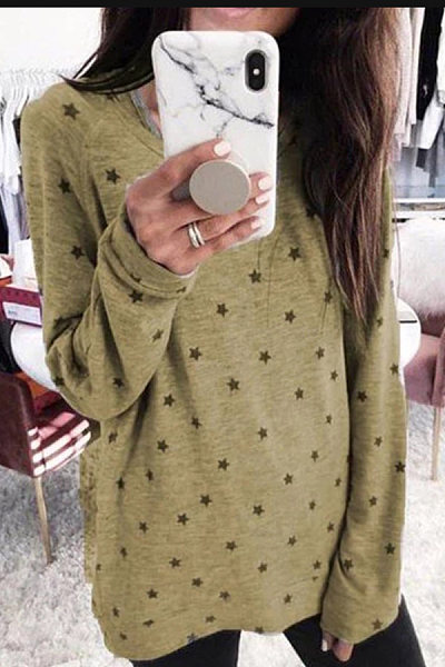 Plus Size Round Neck Long Sleeve Star T-Shirt