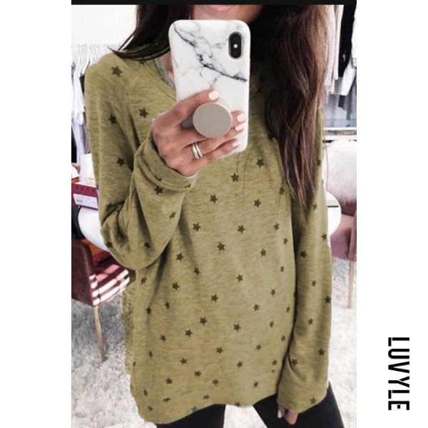 Khaki Plus Size Round Neck Long Sleeve Star T-Shirt Khaki Plus Size Round Neck Long Sleeve Star T-Shirt