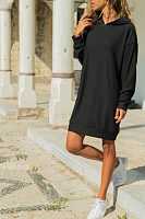 Hooded  Plain  Long Sleeve Casual Dresses