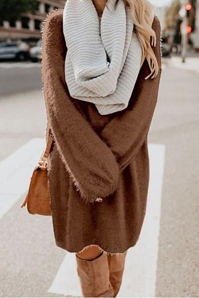 Round Neck Loose-Fitting Plain Dress