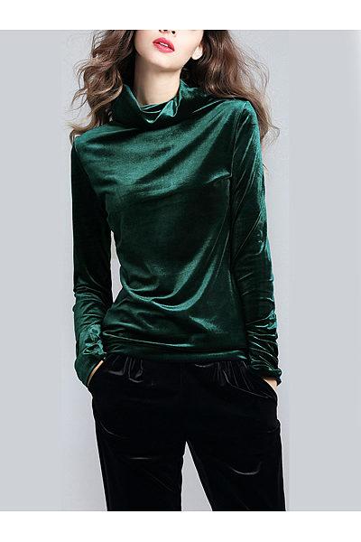 High Neck Solid Velvet Long Sleeve T-Shirt