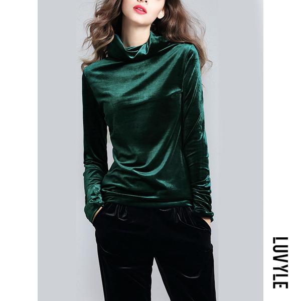 Green High Neck Solid Velvet Long Sleeve T-Shirt Green High Neck Solid Velvet Long Sleeve T-Shirt