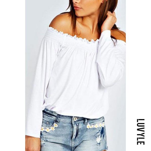 White Off Shoulder Plain T-Shirts White Off Shoulder Plain T-Shirts