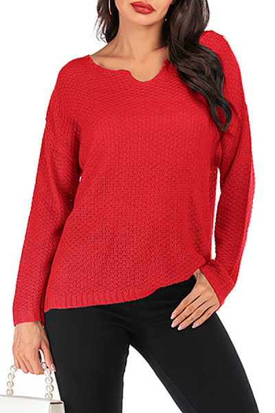 Loose Casual Women Solid Color Long Sleeve Sweater