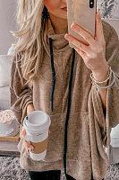 Casual  Plain  Long Sleeve Sweatshirts