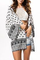 Snap Front Animal Printed Long Sleeve Kimono
