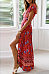 Deep V Neck  High Slit  Floral Printed  Short Sleeve Maxi Dresses