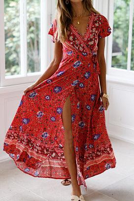 e69bda84ab2a deep v neck high slit floral printed short sleeve maxi dresses