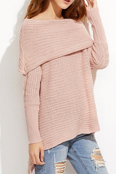 Fold Over Collar Patchwork Plain Knitwear