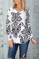 Casual V-Neck Multi-Color Multi-Code Long-Sleeved Printed T-Shirt