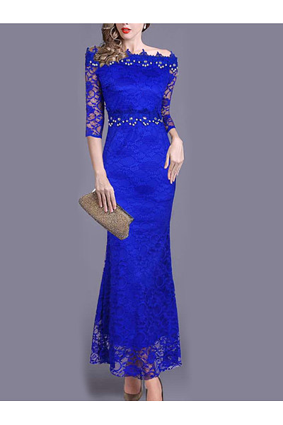 Off Shoulder  Beading  Plain  Lace Evening Dress