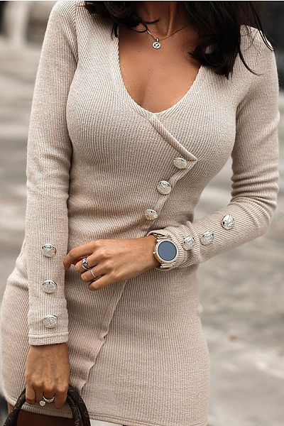 Round Neck Decorative Buttons Bodycon Mini Dress