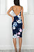 V Neck Floral Sleeveless Bodycon Dresses