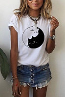 Round Neck Short Sleeve Cat T-shirt