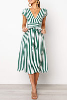 Deep V Neck  Belt  Striped  Extra Short Sleeve Maxi Dresses