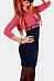 Deep V Neck  Zipper  Color Block Bodycon Dresses