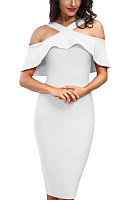Open Shoulder  Zipper  Tiered  Plain  Batwing Sleeve  Short Sleeve Bodycon Dresses