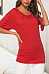 Asymmetric Neck  Cutout  Plain T-Shirts
