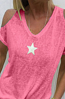 Star Print V-Neck Strapless Short-Sleeved Casual T-Shirt