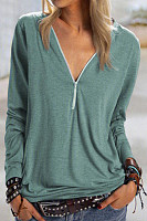 Zip V Neck Solid Color T-shirt