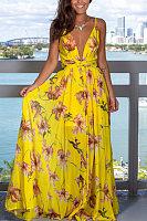V-neck Fashion Halter Print Dress