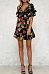 Deep V Neck  Flounce  Belt  Floral Printed  Bell Sleeve  Short Sleeve Skater Dresses