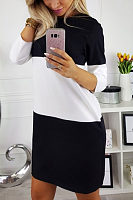 Round Neck  Color Block Patchwork  Long Sleeve Casual Dresses