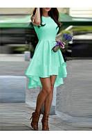 Round Neck  Plain Skater Dresses