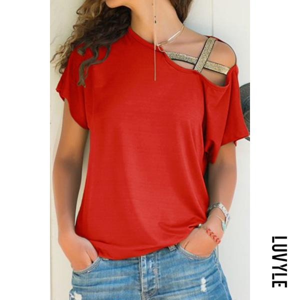Orange Red Asymmetric Neck Casual Plain T-Shirts Orange Red Asymmetric Neck Casual Plain T-Shirts