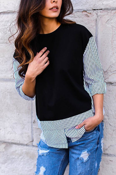 Round Neck  Patchwork Striped  Blouses