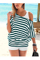 One Shoulder  Backless Cutout Elastic Waist Racerback  Striped Long Sleeve T-Shirts
