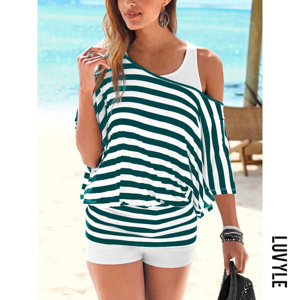 Green One Shoulder Backless Cutout Elastic Waist Racerback Striped Long Sleeve T-Shirts Green One Shoulder Backless Cutout Elastic Waist Racerback Striped Long Sleeve T-Shirts