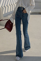 Fashion High-Waist Bell-Bottoms Slim Jeans