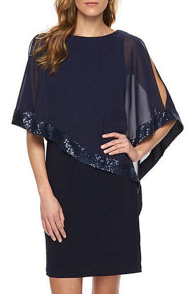 Round Neck Cape Sleeve Patchwork Bodycon Dresses