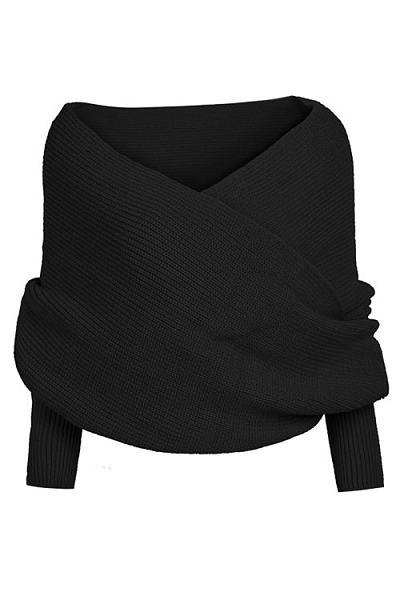 Black Cross Front Design Knit Cape