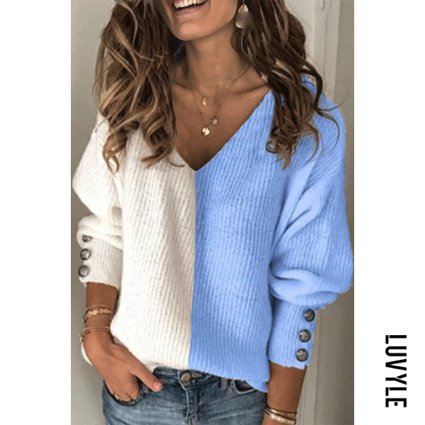 V-neck color matching knit sweater