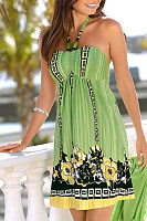 Halter  Printed Casual Dresses