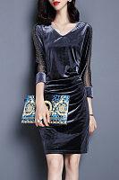 V Neck  Embroidery  Three Quarter Sleeve Bodycon Dresses