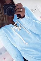 Asymmetric Neck  Drawstring  Plain  Sweatshirts