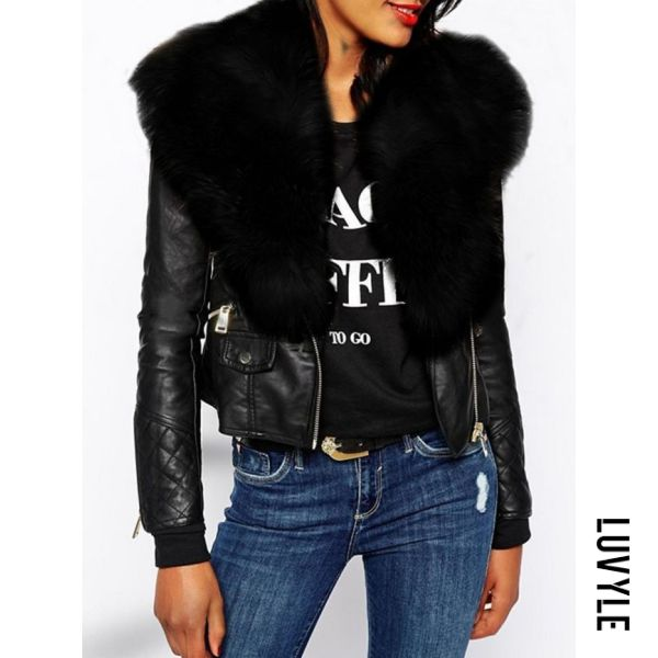 Black Fabulous Fur Collar With Flap Pockets Jacket
