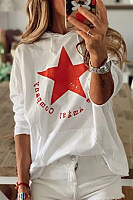 Star Printed Loose Casual Hoody
