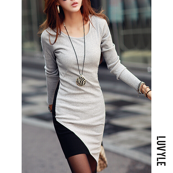 Color Block Asymmetric Hem Round Neck Bodycon Dress