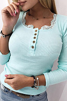Casual Lace Round Neck Knit Slim T-Shirt