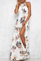 Halter  Backless  Floral Printed  Sleeveless Maxi Dresses