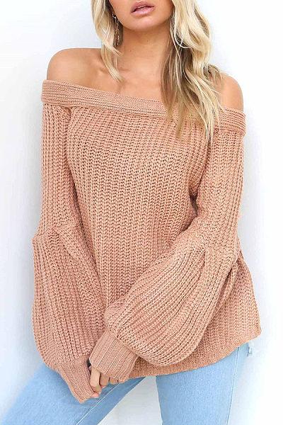Off Shoulder  Plain  Lantern Sleeve Sweaters