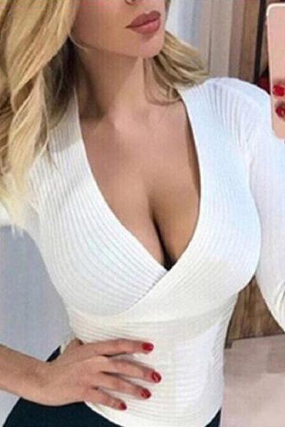 Deep V Collar  Casual  Plain  Long Sleeve Sweaters