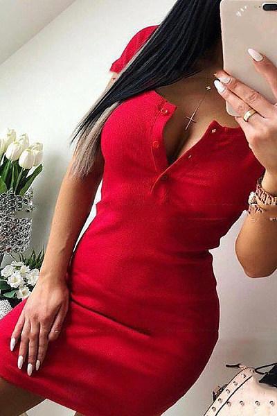 V Neck  Single Breasted  Plain  Short Sleeve Bodycon Dresses