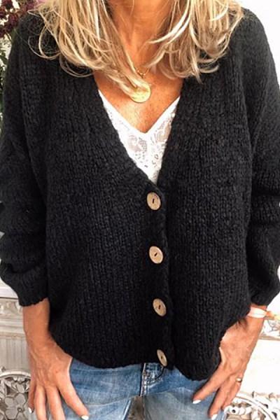 V Neck Single Breasted Plain Sweater