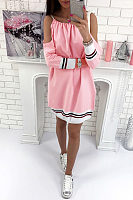 Spaghetti Strap  Patchwork  Long Sleeve Casual Dresses