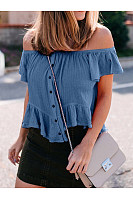 Off Shoulder Ruffles Casual T-Shirts